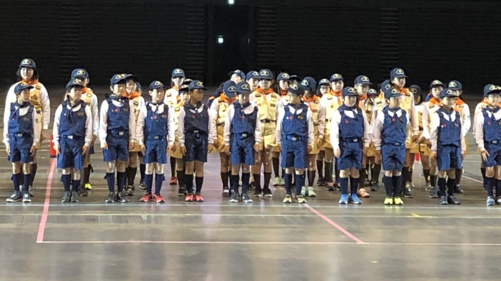 令和二年福岡市消防団出初式での、消防少年団演技